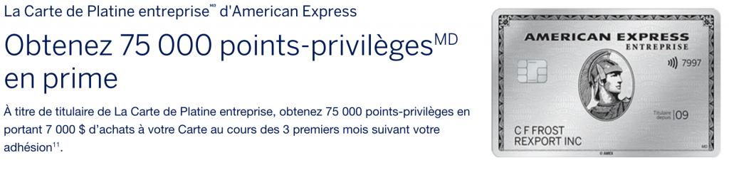 Prime d'inscription de 75 000 points American Express Platine